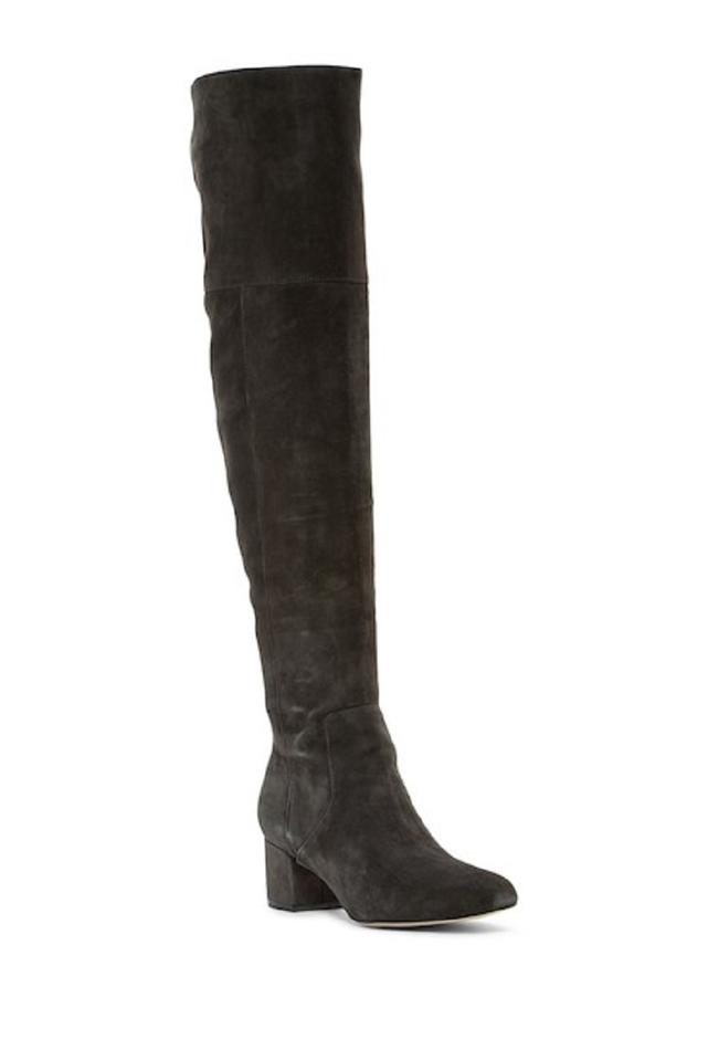 8335916160a5a7 Sam Edelman Dark Grey Elina Suede Leather Over The Knee Tall Boots ...