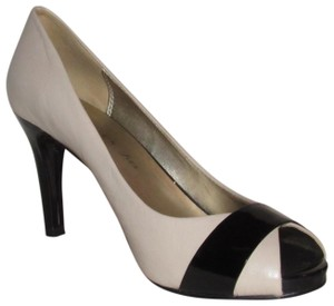 Anne Klein Open Toe Style Excellent Condition '7oakes' ivory leather and black patent leather Pumps