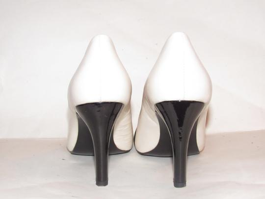 Anne Klein Open Toe Style Excellent Condition '7oakes' ivory leather and black patent leather Pumps Image 1