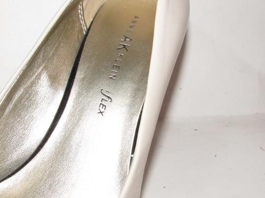 Anne Klein Open Toe Style Excellent Condition '7oakes' ivory leather and black patent leather Pumps Image 2