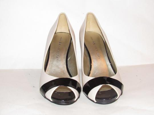 Anne Klein Open Toe Style Excellent Condition '7oakes' ivory leather and black patent leather Pumps Image 4