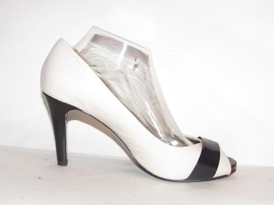 Anne Klein Open Toe Style Excellent Condition '7oakes' ivory leather and black patent leather Pumps Image 5