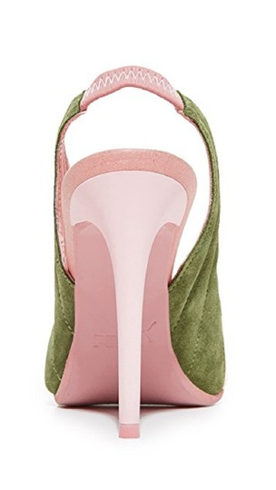 FENTY PUMA by Rihanna Green Suede Leather Pointed Toe Pink Pumps Image 6
