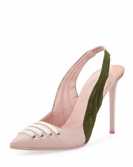 FENTY PUMA by Rihanna Green Suede Leather Pointed Toe Pink Pumps Image 7