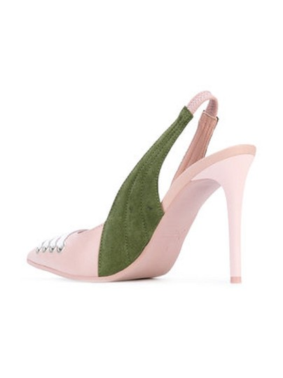 FENTY PUMA by Rihanna Green Suede Leather Pointed Toe Pink Pumps Image 8