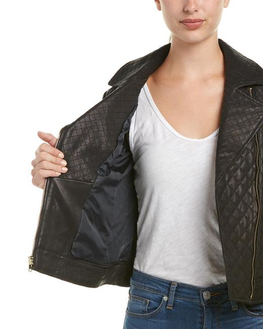 Cole Haan Moto Quilted Biker Leather Jacket Image 2