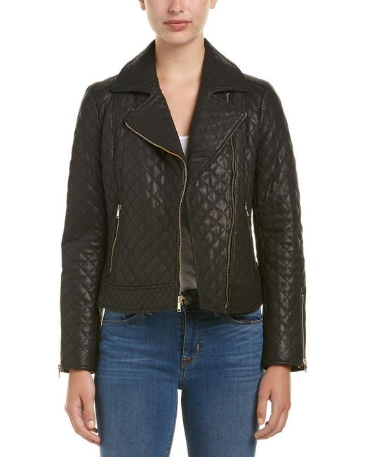 Cole Haan Moto Quilted Biker Leather Jacket Image 3