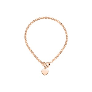 Marco B 8mm Cable Chain with Heart Charm 14K Gold Vermeil