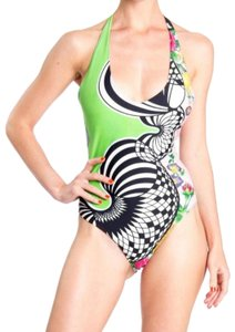 Versus Versace 1990s Versus Gianni Versace Green Abstract Floral Print One Piece Swimsuit