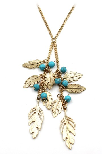 Ocean Fashion Pendant golden leaves and beads sweater necklace Image 1