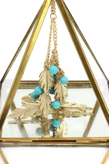 Ocean Fashion Pendant golden leaves and beads sweater necklace Image 3