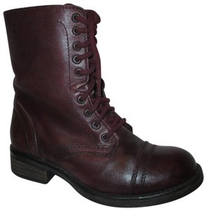 Steve Madden Troopa Leather Combat burgundy Boots