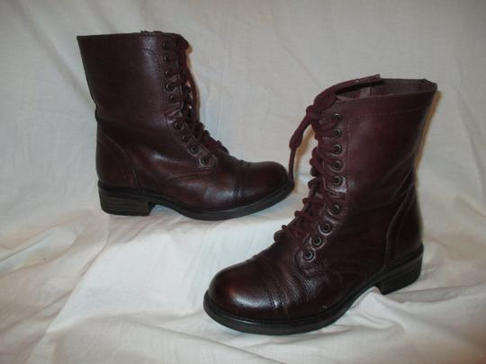 Steve Madden Troopa Leather Combat burgundy Boots Image 1