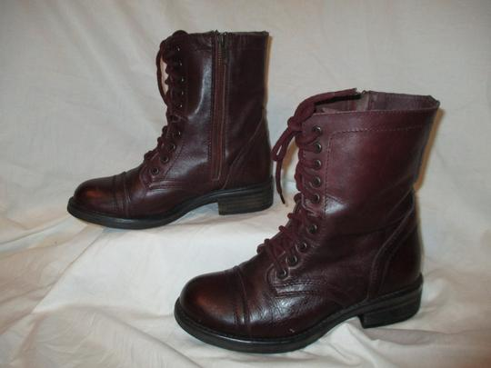 Steve Madden Troopa Leather Combat burgundy Boots Image 2