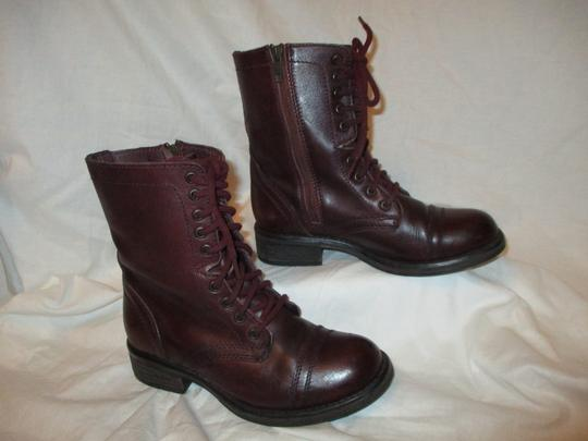 Steve Madden Troopa Leather Combat burgundy Boots Image 3