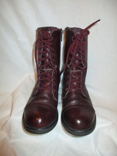 Steve Madden Troopa Leather Combat burgundy Boots Image 4
