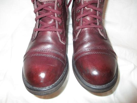 Steve Madden Troopa Leather Combat burgundy Boots Image 5