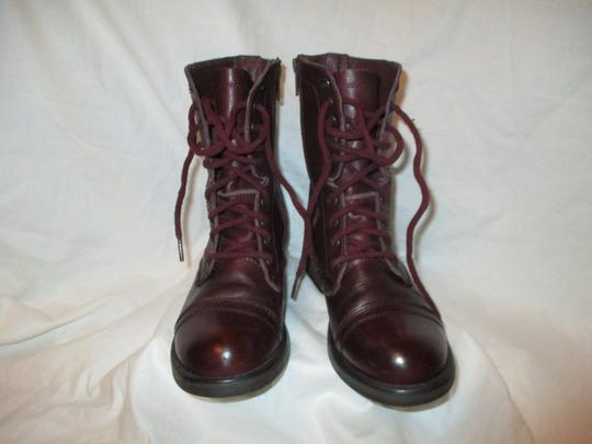 Steve Madden Troopa Leather Combat burgundy Boots Image 7
