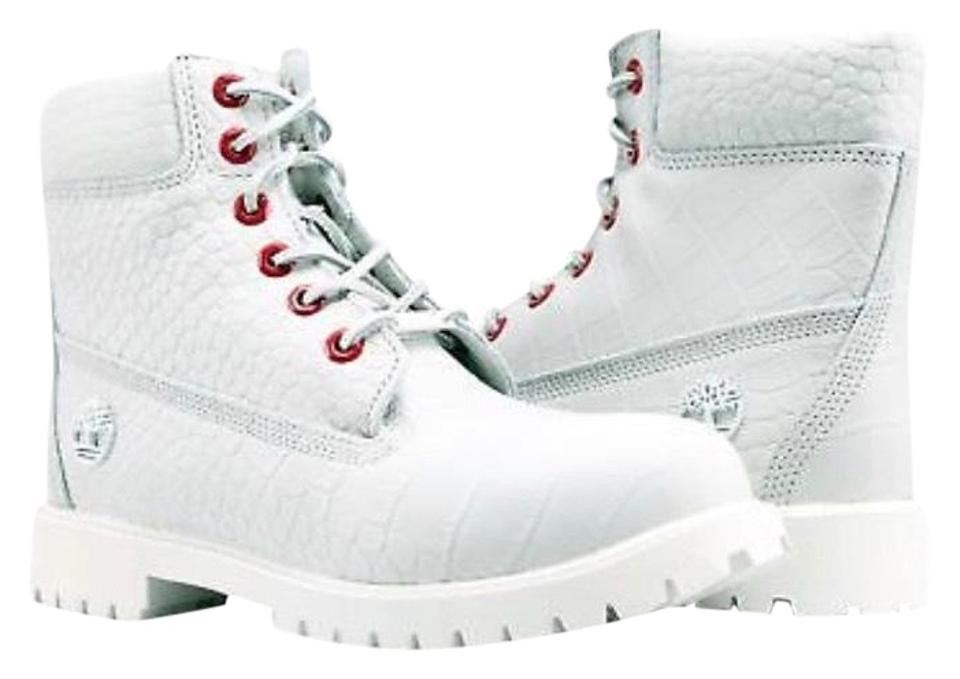 Timberland White Red Serpent 6-inch Premium Boots/Booties Size US 8 Regular  (M, B) 59% off retail