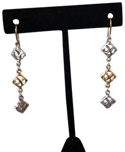 David Yurman David Yurman Vintage 18k Gold Silver Logo earrings Long Dangle