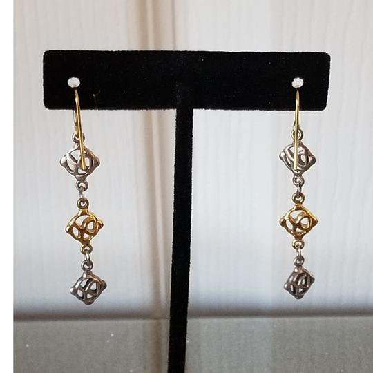 David Yurman David Yurman Vintage 18k Gold Silver Logo earrings Long Dangle Image 2