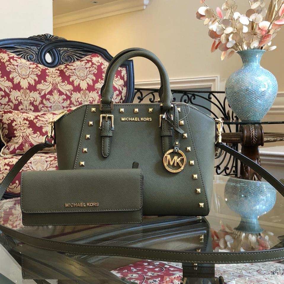 Michael Kors Matching Set Purse Ciara Leather Satchel In Olive Green