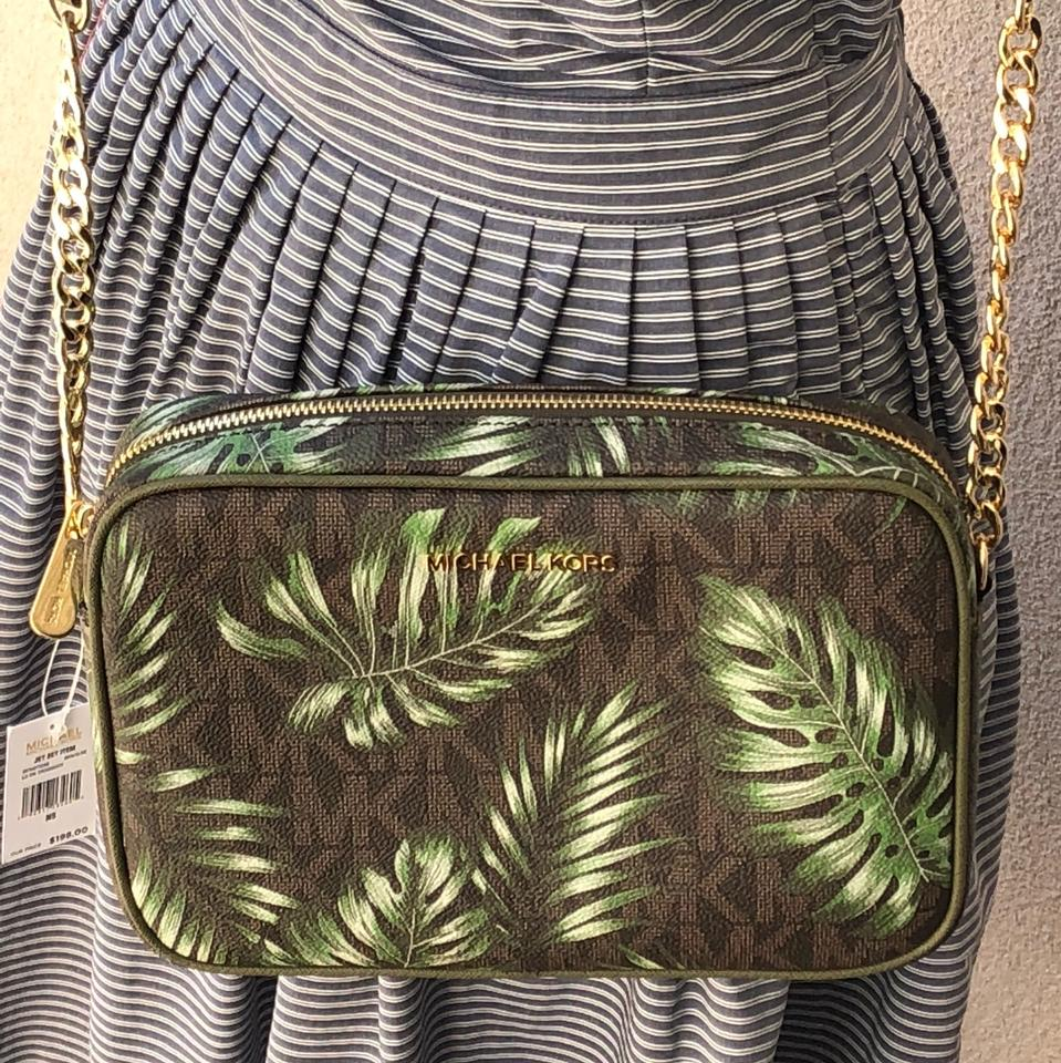 d9929804fa8c Michael Kors Jet Set Travel Signature Leaf Large Ew Brn Olive ...