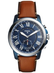 Fossil Fossil Men's Q Grant Luggage Leather Hybrid Smartwatch FTW1147