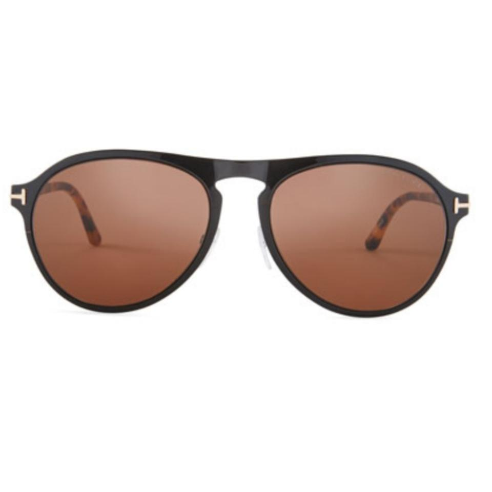 6e12c822fff9 Tom Ford Black Tortoise Brown Bradbury Metal Aviator Sunglasses ...