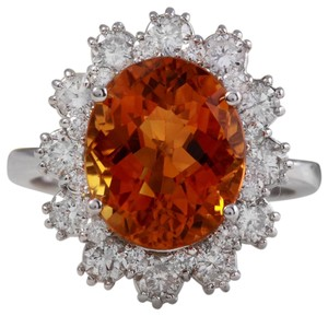 Other 5.90Ct Natural Madeira Citrine and Diamond 14K Solid White Gold Ring