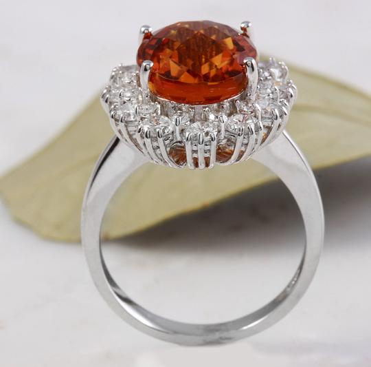 Other 5.90Ct Natural Madeira Citrine and Diamond 14K Solid White Gold Ring Image 6