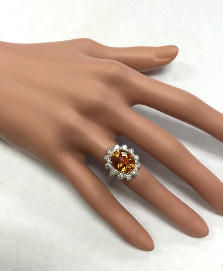 Other 5.90Ct Natural Madeira Citrine and Diamond 14K Solid White Gold Ring Image 8