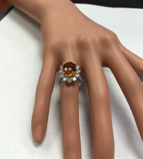 Other 5.90Ct Natural Madeira Citrine and Diamond 14K Solid White Gold Ring Image 9