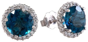 Other 4.55ct Natural London Blue Topaz and Diamond 14K White Gold Earrings