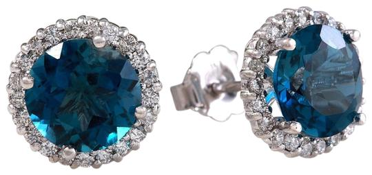 Other 4.55ct Natural London Blue Topaz and Diamond 14K White Gold Earrings Image 0