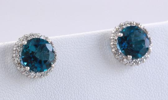 Other 4.55ct Natural London Blue Topaz and Diamond 14K White Gold Earrings Image 1