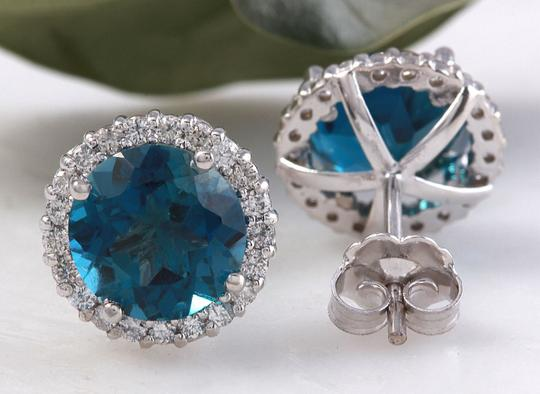 Other 4.55ct Natural London Blue Topaz and Diamond 14K White Gold Earrings Image 3