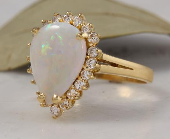 Other 2.75 Carats Natural Ethiopian Opal and Diamond 14K Yellow Gold Ring Image 1