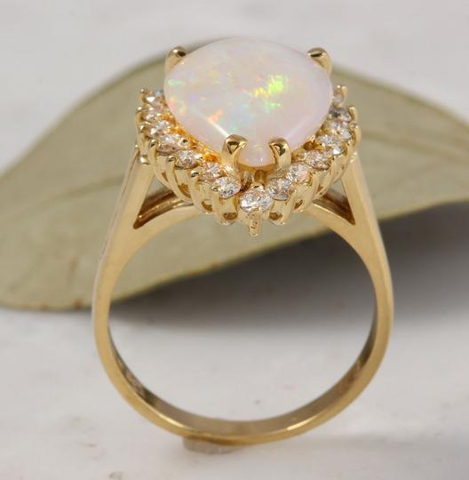 Other 2.75 Carats Natural Ethiopian Opal and Diamond 14K Yellow Gold Ring Image 5