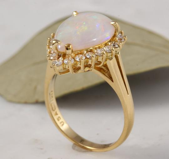 Other 2.75 Carats Natural Ethiopian Opal and Diamond 14K Yellow Gold Ring Image 6