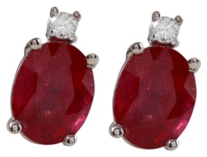 Other 4.18ct Natural Red Ruby and Diamond 14K Solid White Gold Earrings