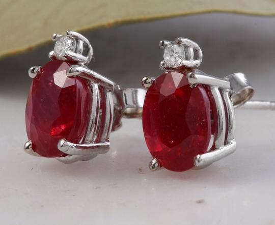 Other 4.18ct Natural Red Ruby and Diamond 14K Solid White Gold Earrings Image 1