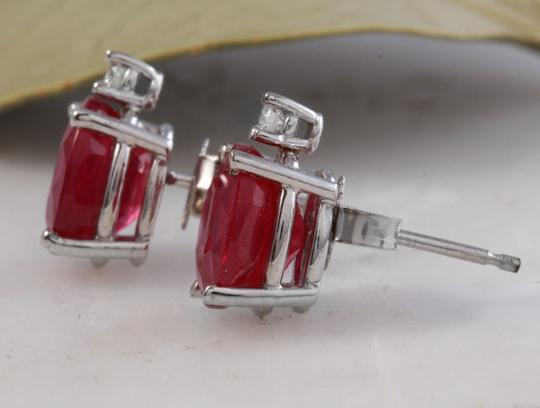 Other 4.18ct Natural Red Ruby and Diamond 14K Solid White Gold Earrings Image 2