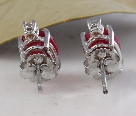 Other 4.18ct Natural Red Ruby and Diamond 14K Solid White Gold Earrings Image 3