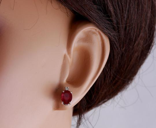Other 4.18ct Natural Red Ruby and Diamond 14K Solid White Gold Earrings Image 4