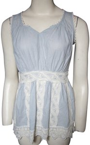 Unknown Boho Blue Sleeveless Lace Gypsy Top