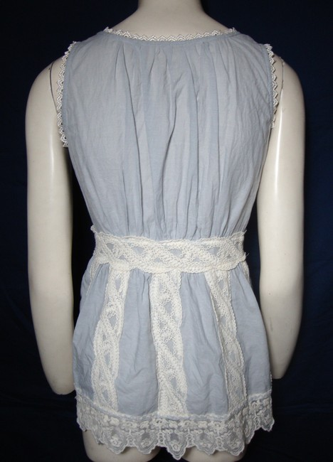 Unknown Boho Blue Sleeveless Lace Gypsy Top Image 1
