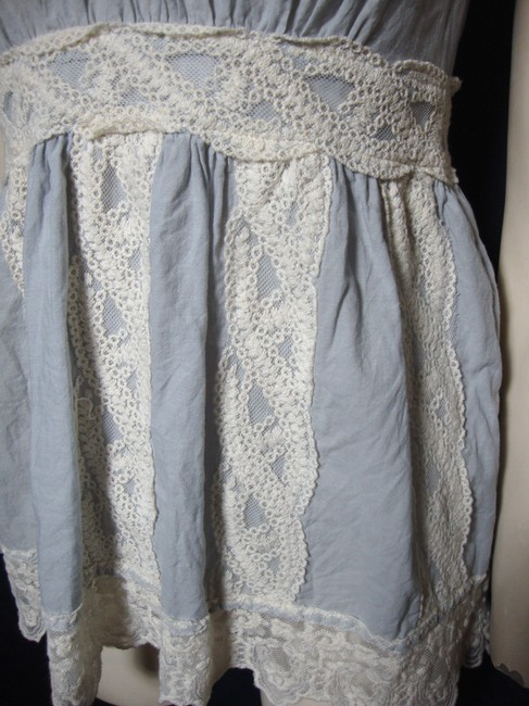 Unknown Boho Blue Sleeveless Lace Gypsy Top Image 2