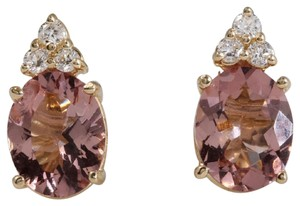 Other 2.90ct Natural Morganite and Diamond 14K Solid Yellow Gold Earrings