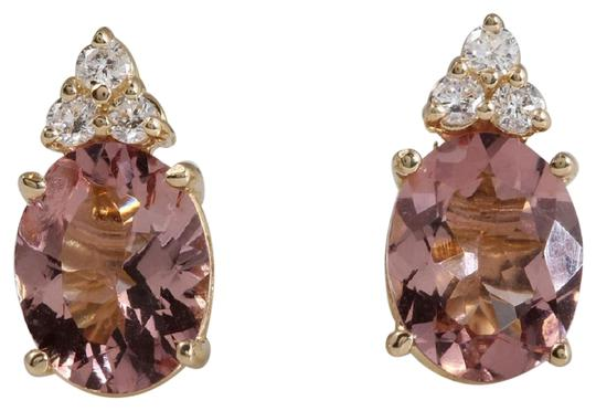 Other 2.90ct Natural Morganite and Diamond 14K Solid Yellow Gold Earrings Image 0
